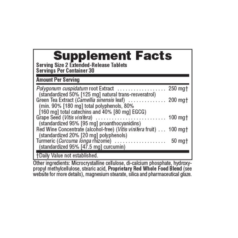NATURES PLUS EXTENDED RELEASE RESVERATROL 60 TABS