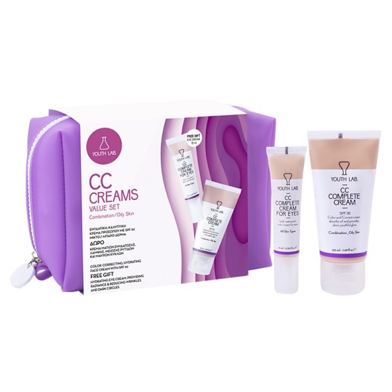 YOUTH LAB. CC COMPLETE CREAM SPF 30 50ML & ΔΩΡΟ CC COMPLETE CREAM FOR EYES 15ML – COMBINATION / OILY SKIN