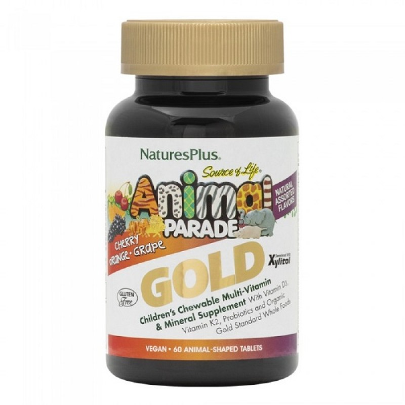 NATURES PLUS ANIMAL PARADE GOLD ASSORTED 60 CHEWABLE TABS & IMMUNE BOOSTER 90 CHEWABLE TABS & ΔΩΡΟ ΜΕΤΑΛΛΙΚΟ ΠΑΓΟΥΡΙ (ΛΕΥΚΟ)