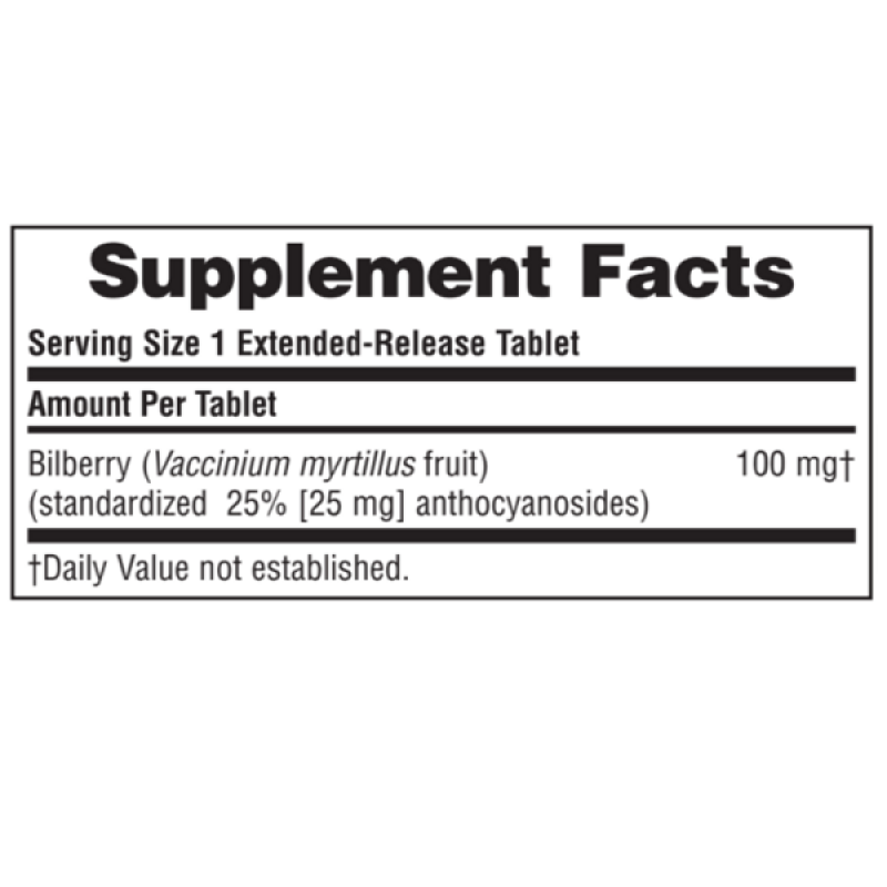 NATURES PLUS BILBERRY 100MG 30TABS