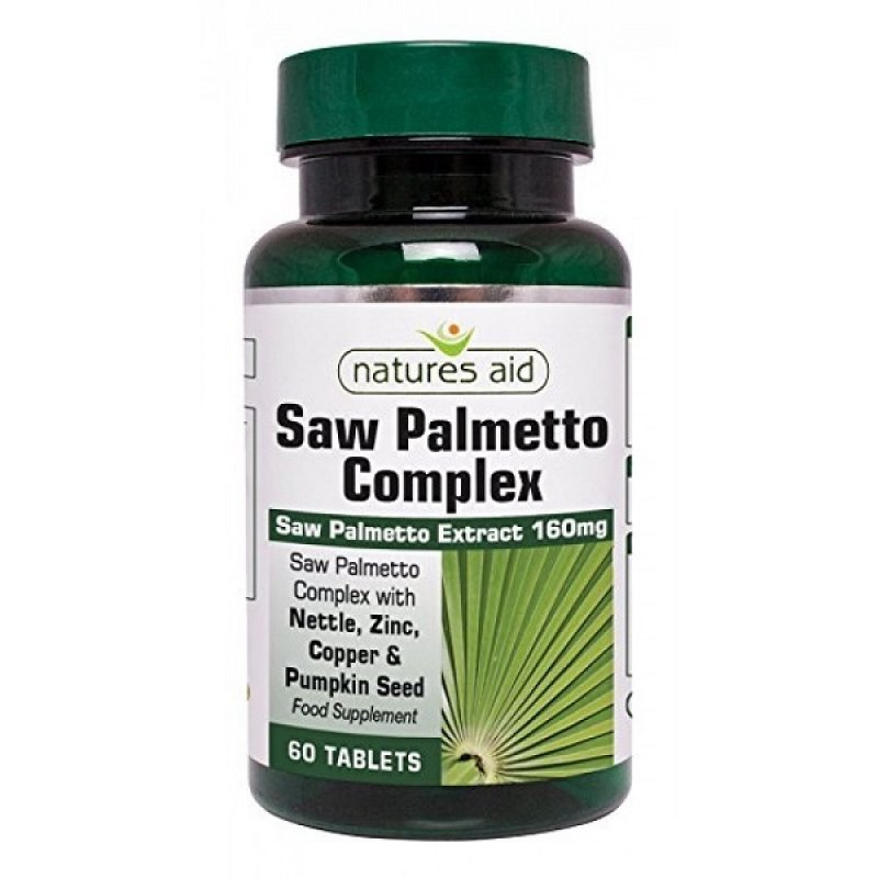 NATURES AID SAW PALMETTO COMPLEX WITH NETTLE, ZINC & AMINO ACIDS 60 TABS