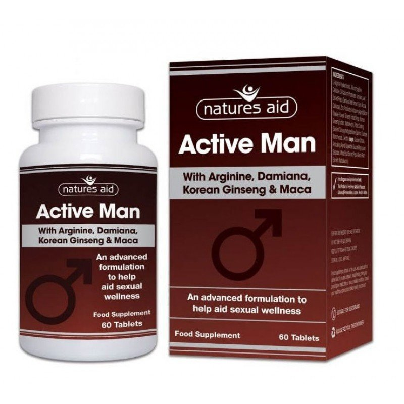 NATURES AID ACTIVE MAN WITH ARGININE, KOREAN GINSENG AND MACA 60 TABS