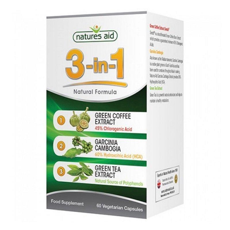 NATURES AID 3-IN-1 NATURAL FORMULA WITH GREEN COFFEE (SVETOL®), GARCINIA CAMBOGIA & GREEN TEA 60 VCAPS