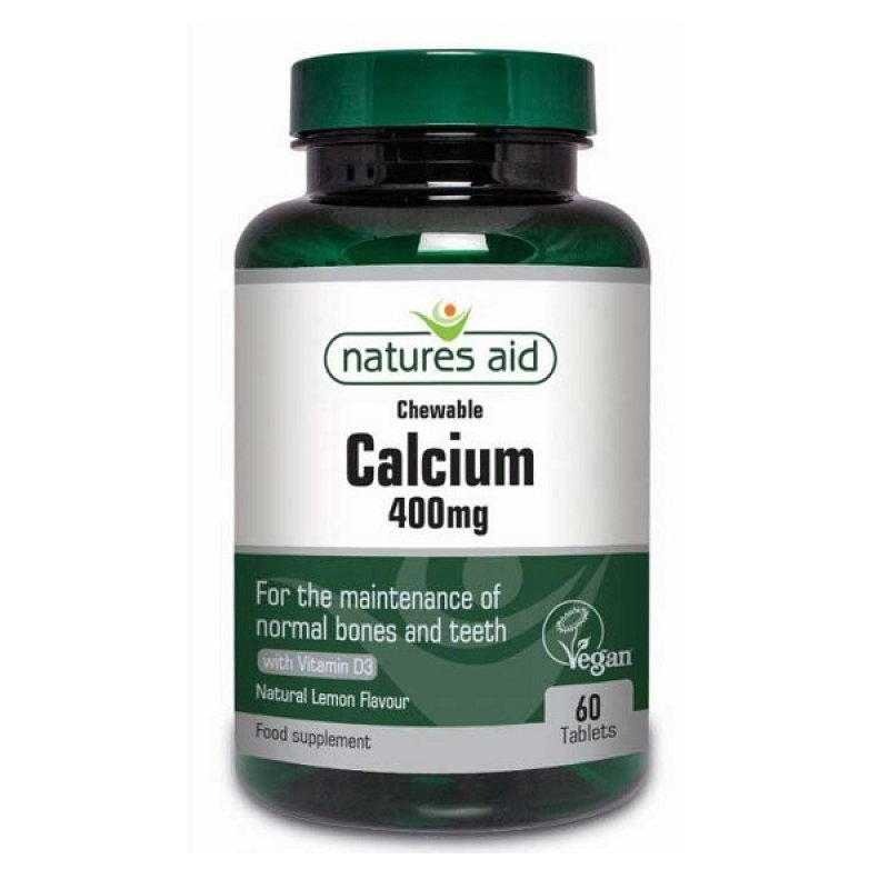 NATURES AID CALCIUM CHEWABLE 400mg NATURAL LEMON FLAVOUR 60 TABS