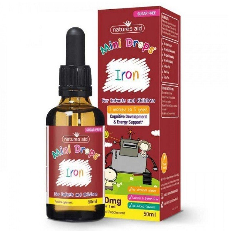 NATURES AID IRON MINI DROPS FOR INFANTS & CHILDREN (3 MONTHS - 5 YEARS) 50ml