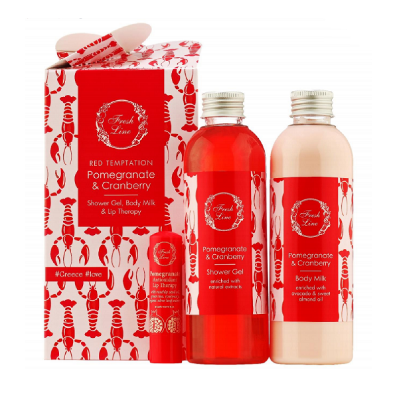 FRESH LINE POMEGRANATE & CRANBERRY SHOWER GEL 200ML & BODY MILK 200ML & LIP THERAPY SPF15 5,4G