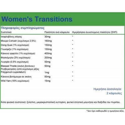 NATURAL VITAMINS WOMEN S TRANSITIONS 60 CAPS